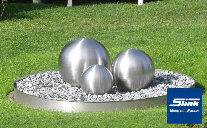 gartenbrunnen edelstahlkugel trio globus online kaufen. Black Bedroom Furniture Sets. Home Design Ideas