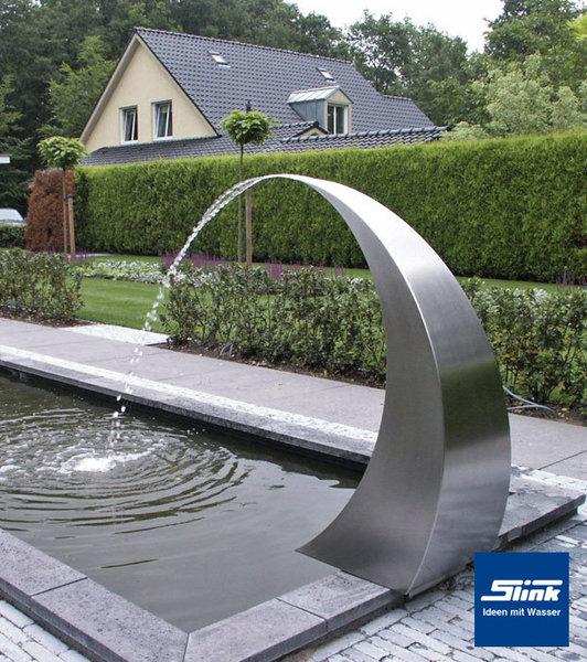 Edelstahl wasserfall semi circle edelstahlbrunnen 120 cm - Gartenbrunnen modern ...