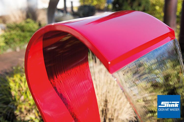 gartenbrunnen edelstahl wasserfall swing color mit beleuchtung. Black Bedroom Furniture Sets. Home Design Ideas