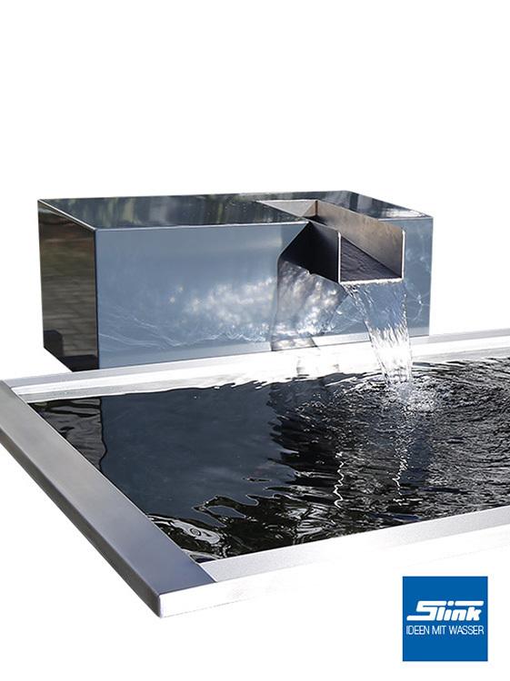 Gartenbrunnen aluminium wasserfall kubus kjaer brunnen wasserbecken teichtechnik for Brunnen modern wasserfall