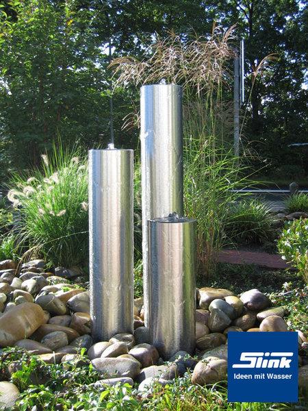 edelstahlbrunnen säulenbrunnen dreierobjekt, Gartenarbeit ideen