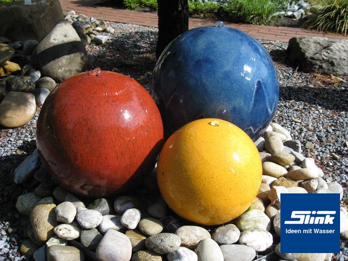 Gartenbrunnen keramikkugel trio online shop kugelbrunnen farbig - Keramikkugeln blau garten ...