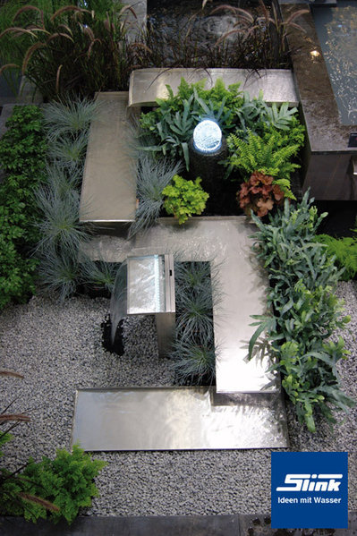 edelstahl-bachlaufelement kastholm ecke rechts – bachlauf selber bauen, Garten und Bauen
