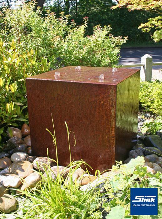 Gartenbrunnen Cortenstahl-Quader Quattro – kubistischer ...