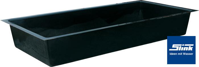 GFK Wasserbecken Fertigteich rechteckig 240 x 120 x 35 cm mit 650 Liter Volumen ~ 08091943_Gartenteich Becken Rechteckig