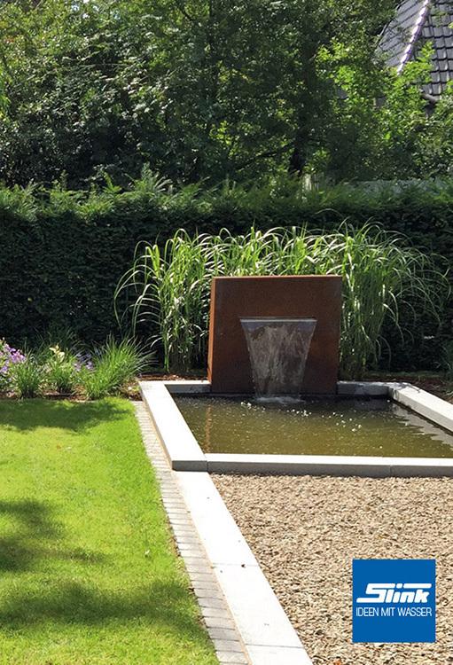 cortenstahl wasserfall stele gartenbrunnen springbrunnen. Black Bedroom Furniture Sets. Home Design Ideas