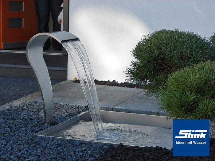 edelstahlbrunnen gartenbrunnen wasserfall swing mit beleuchtung. Black Bedroom Furniture Sets. Home Design Ideas