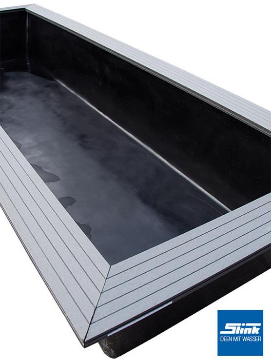 GFK-Wasserbecken Fertigteich rechteckig 200 x 100 x 40 cm mit  WPC-Holzrandabdeckung