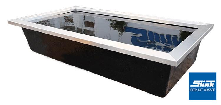 Edelstahl-Beckenrandabdeckung für GFK-Becken 306 x 156 x 15 cm