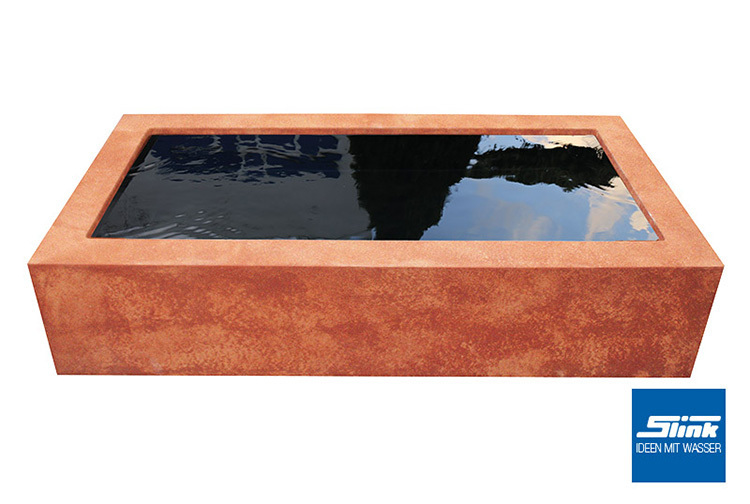 rechteckige beckenumrandung rost hochteich oder miniteich terrasse garten. Black Bedroom Furniture Sets. Home Design Ideas